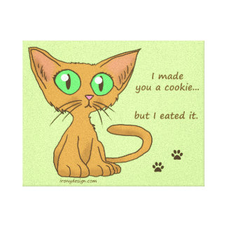 Cute Cat Ate Your Cookie Gallery Wrap Canvas