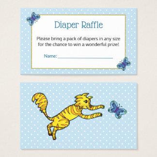 Cute Cat Blue Butterfly Dots Diaper Raffle Ticket
