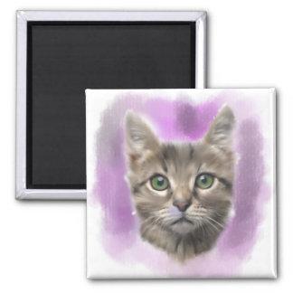 Cute cat ,Cat lover digital art Square Magnet