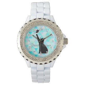 Cute Cat Chasing a butterfly Monogram Watch