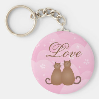 Cute Cat Couple Pink Cherry Blossom Spring Floral Key Ring