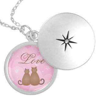 Cute Cat Couple Pink Cherry Blossom Spring Floral Silver Plated Necklace