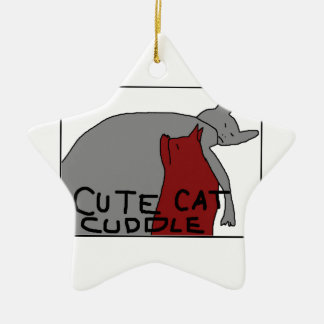 Cute Cat Cuddle Ceramic Star Decoration