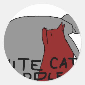 Cute Cat Cuddle Classic Round Sticker
