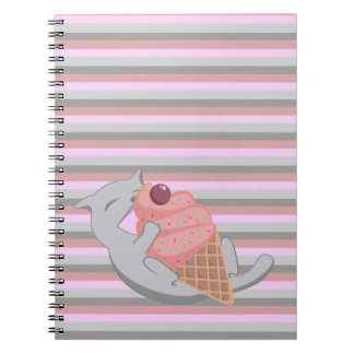 Cute Cat Eating Ice Cream Striped Spiral Notebook