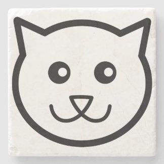 Cute cat face  cat Marble Stone Coaster