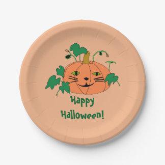 Cute Cat Face Pumpkin Happy Halloween Plates 7 Inch Paper Plate