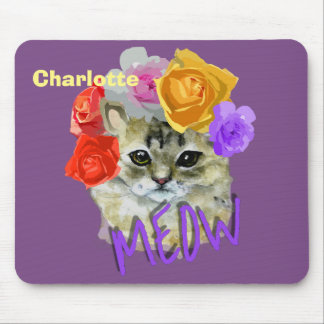 Cute Cat Flowery Rose Headdress Meow Personalized Mouse Pad