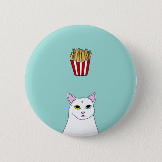 Cute Cat French Fries cartoon Round Button