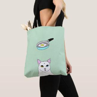 Cute Cat Fried Egg cartoon Tote Bag
