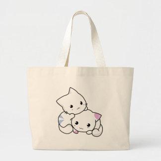 Cute cat friends large tote bag