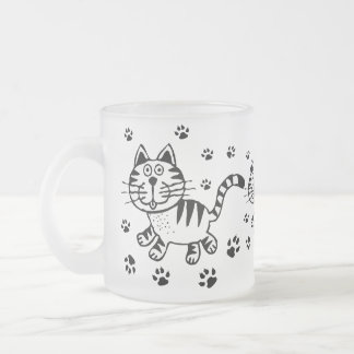 Cute Cat Frosted Glass Mug
