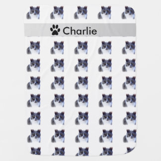 Cute Cat Gray and White Print Fleece Blanket