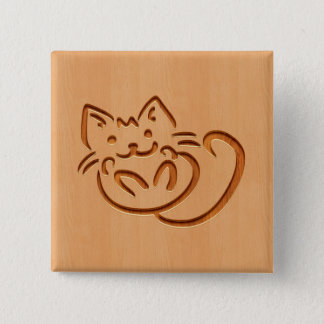 Cute cat illustration engraved on wood design 15 cm square badge