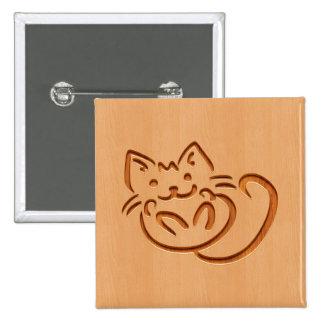 Cute cat illustration engraved on wood design 15 cm square badge