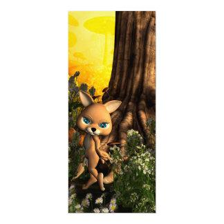 "Cute cat in a fairy tale forest 4"" x 9.25"" invitation card"