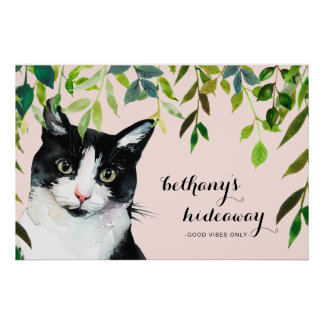 Cute Cat in Greenery Add Name Blush Good Vibes Poster