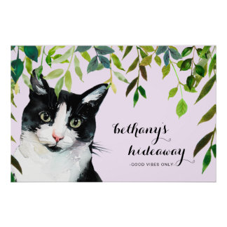 Cute Cat in Greenery Add Name Purple Good Vibes Poster