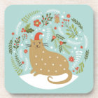 Cute Cat In Red Hat Coaster