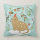 Cute Cat In Red Hat Cushion