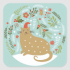 Cute Cat In Red Hat Square Sticker