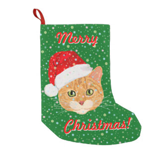 Cute Cat in Santa Claus Hat with Snowflakes Small Christmas Stocking