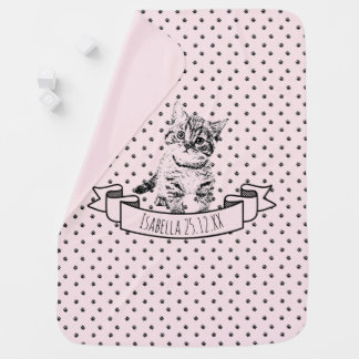 Cute cat kitten | all-over paw print on pink baby blanket