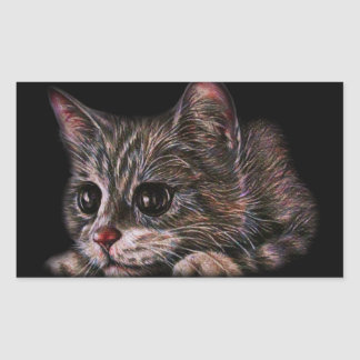 Cute Cat Kitten Art Drawing for Cat Lovers Rectangular Sticker