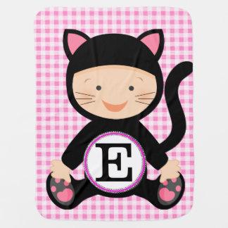 cute cat kitten initial monogramme baby blanket