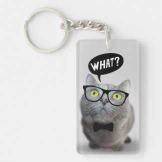 Cute Cat kitten with glasses what quote funny Key Ring