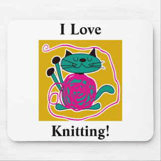 Cute Cat Knitting Mouse Pad