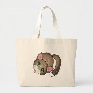 cute cat large tote bag