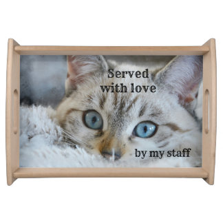 Cute Cat Lover Personalised Serving Tray