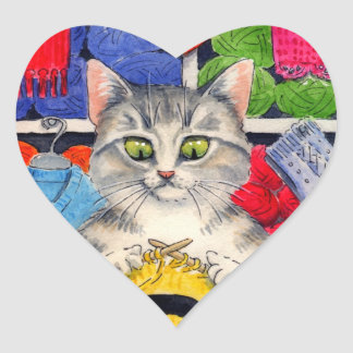 Cute cat loves to knit stickers