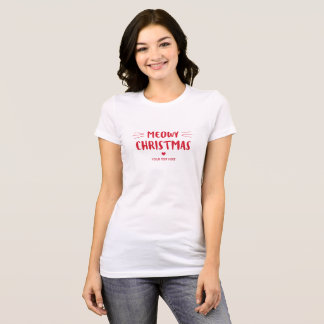 Cute Cat Meowy Christmas | Custom Holiday T-Shirt