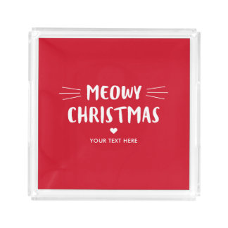 Cute Cat Meowy Christmas |  Holiday Acrylic Tray