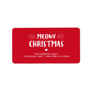 Cute Cat Meowy Christmas | Holiday Address Label
