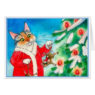 Cute cat, mice, Christmas tree greeting card
