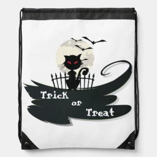 Cute Cat, Moon, Bats Halloween Trick or Treat Bag Backpack