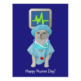 Cute Cat Nurses Day Postcard