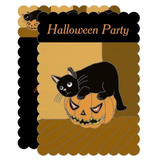 Cute Cat on a Pumpkin Halloween invitation. Card