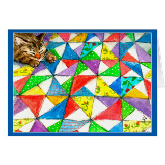 Cute cat on quilt card