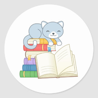 Cute Cat on top of a Book Stack Classic Round Sticker