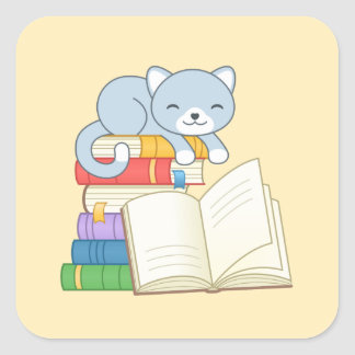 Cute Cat on top of a Book Stack on Yellow Square Sticker