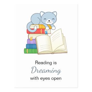 Cute Cat on top of a Book Stack Reading Quote Postcard