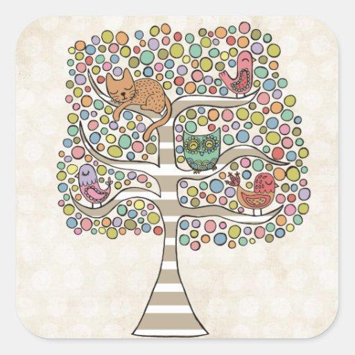 Cute Cat Owl & Birds Sittin in a Tree Illustration Stickers