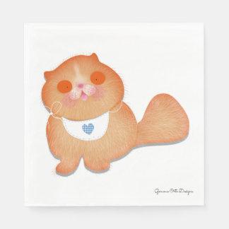 Cute cat  paper napkin by Gemma O Designs