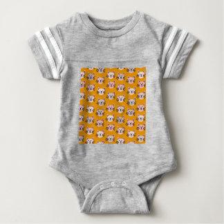 Cute cat pattern in yellow mustard baby bodysuit