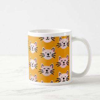 Cute cat pattern in yellow mustard coffee mug