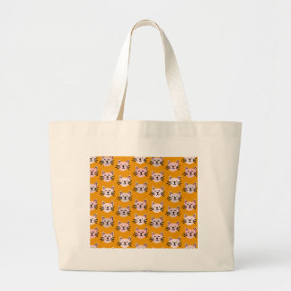 Cute cat pattern in yellow mustard large tote bag